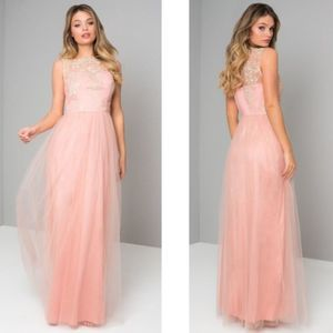 Chi Chi London Tulle Pipper Maxi Gown 6 Pink
